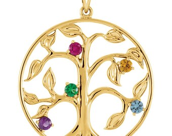 Family Tree of Life Pendant for Mom, Mothers Day Pendant, Christmas Gift, Solid 14K Gold Pendant, 2 to 5 Birthstones, White or Yellow Gold