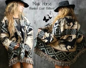 Bohemian Hippie Blanket Coat Pattern Instant Download PDF Majik Horse original pattern tutorial Vintage 1970s 1980s Fashion