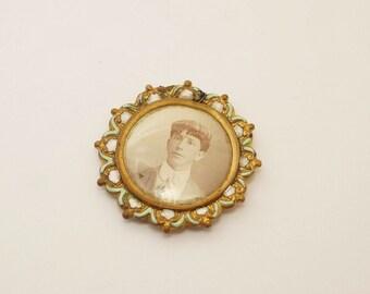 Antique Brass/Enamel Photo Pendant