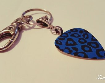Guitar Pick KeyChain - Guitar Pick Jewelry - Blue Key Chain - Leopard Key chain - Animal Print Jewelry - Pick Key Chain - Leopard Print