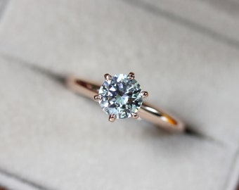 6mm Moissanite, 6 prong solitaire engagement ring in rose gold