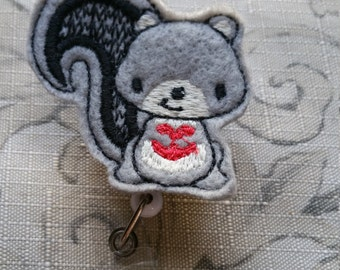 Grey Squirel Badge Holder / ID Holder / Name Badge Holder / You Choose Badge Reel Clip Style