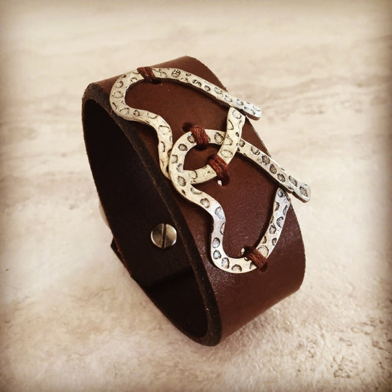 Handmade Leather Cuff Brown Intertwined Hearts Cuffs