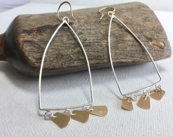 Gold and  Silver Earrings,Mixed Metal Earrings,Geometric Earrings,Handmade Metalsmith Earrings ,Two-Tone Earrings