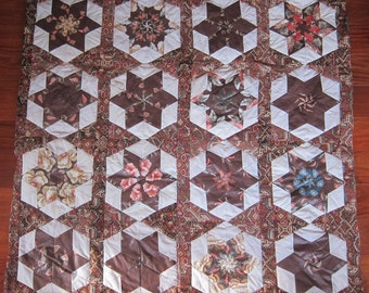 Wacky Stars in Orange and Brown  (Lap Quilt)- QuiltsbyShirley