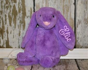 Personalized Easter Bunny -Purple Monogrammed Plush Rabbit
