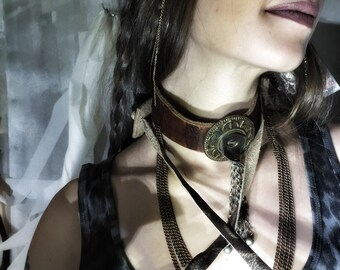 Charmed Leather Harness Wrap with Copper Chain