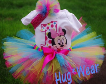 Custom Birthday Baby Minnie Mouse Face Shirt + Tutu Outfit Multi color (any age)
