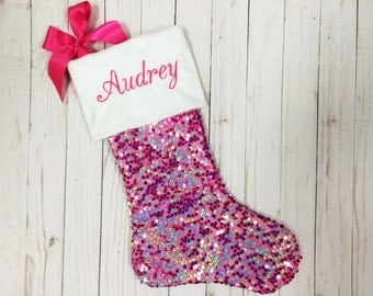 Hot Pink Christmas Stocking Personalized Christmas Stocking