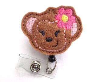 SALE - Cute Badge Holder Retractable - Little Miss Monkey - brown felt with hot pink flower badge reel - medical staff nurse teacher
