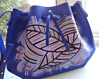 Hand Painted Vegan Leather Tribal Immunity Blue Drawstring Painted Tote Crossbody ~ Jina (Earth) ~ Nature painting