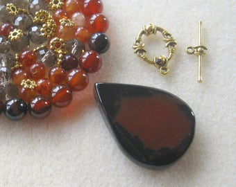Dream Agate Pendant and Beads, Jade  Beads, Glass Rondelles, DIY Jewelry Kit, Gemstone Beads, Jewelry Making, Necklace Kit