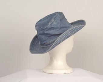 70s vintage denim urban cowboy hat western disco cotton tall hat southwestern boho stonewash jeans hat
