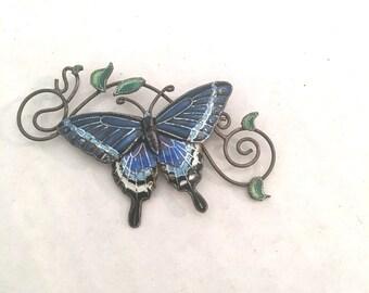 Copper Enamel Butterfly Brooch Vintage Blue Insect Moth Filigree Cloisonne Jewelry Pin