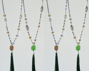 Long Beaded Tassel Seneca Lake Glass Necklace