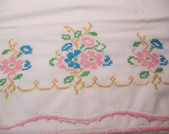 sweet embroidered tubing pillow case