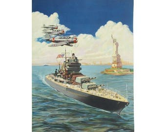 """1941 """"Guardians of Liberty"""" Lithograph Print by Thomas J. Slaughter, Battleship, Airplanes & Statue of Liberty, WWII Art """"Ready for Framing"""""""