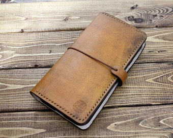 Android Smartphone Hand Stitched Leather Wallet in Hand dyed ANTIQUE TAN  (Free Personalization)