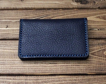 Personalized Credit Card Holder, Minimalist Wallet in Italian Vegetable Tanned OXFORD BLUE Leather