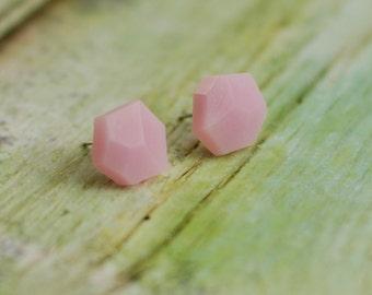 Diamond shape studs, Geometric post earrings, Rose quartz color earrings, Polymer clay earrings, Small earrings, Gift for her