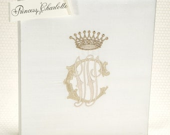 Guest Book Alternative / Wedding Memory Book / Ivory Silk Guest Book / GuestBook Idea / Gold Monogram Book- Princess Charlotte