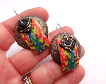 """Disk Earrings """"Somewhere with Rainbows"""" by Marie Segal 2016"""