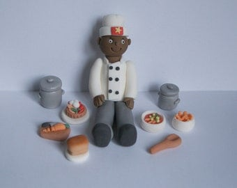Handmade Edible Fondant Sugar Chef Cook Figure Cake Topper Decoration