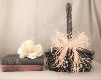 Summer Sale Woodland Wedding Basket / Flower Girl Basket for Vineyard/Farmhouse Wedding / Rustic Grapevine Basket for Wedding or Home Decor