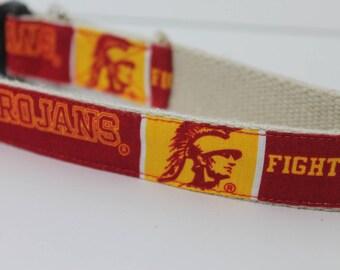 University of South California Trojans hemp dog collar or leash