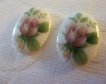 Vintage Decal Picture Stones - Pink Rose Glass Cameos on Chalkwhite Base - 18X13mm Cabochons - Qty 2