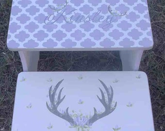 Deer, Antlers and Roses,Benches, Lavender and Grey, Antlers, Deer Heads, Steps, Stools, Bathroom Stool, Personalized Gifts, Girls