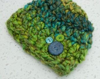 Newborn Boy Button Beanie Earth Tones Green Blue Teal READY TO SHIP Hat Prop