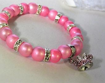 Pink Rhinestone Mouse Ears Hat Pink Glass Beaded Bracelet