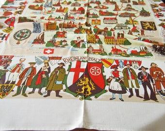 Souvenir Tablecloth Germany Vintage Buildings Folk Costume Crests