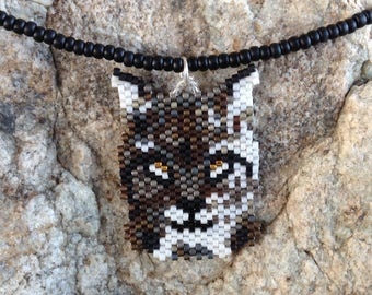 Bobcat Peyote Beaded Necklace