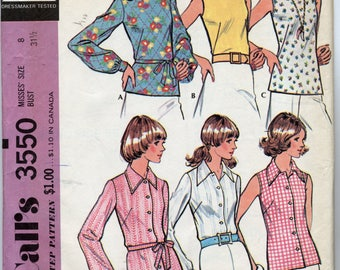 Misses' Set of Blouses in Six Different Versions Sewing Pattern - McCall's 3550 - Size 8 - UNCUT