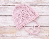 Reserved for MaryaJewels. Hand Knit Alpaca Lace Baby Bonnet. Newborn Baby Cabled Lace Bonnet. Pink Baby Bonnet. Lace Baby Hat.