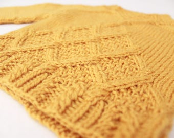Hand Knit Cabled Baby Pullover. Mustard Baby Boy Pullover. Mustard Baby Sweater.