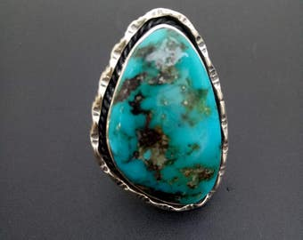 Handmade Sterling Silver Turquoise Statement Ring - Sterling Turquoise Boho Statement Ring - Big Chunky Silver and Turquoise Ring - Size 8.3
