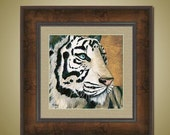 Christmas SALE 20% Off PRINT or GICLEE Reproduction -- Tiger Print Siberian White Tiger Endangered Animal -- Frost Bite