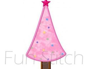 Mini Christmas tree applique machine embroidery design
