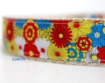 Daisy Dog Collar, Adjustable Dog Collar, Colorful Collar, Summer Dog Collar, Collar, Cotton Dog Collar, Collar & Leash Set, Flower Collar