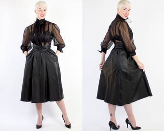FABULOUS 1950's Inspired Fetish Chic Black Leather 12 Gored Full Skirt w/ Corset Style Waistband & Hidden Pockets - Bettie Page - Size M