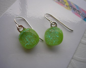 Dichroic Earrings Spring Green Sparkle Petite Fused Glass Small Dangles Lightweight Sterling Earwires Home Made Jewelry Dichro Girls Jewelry
