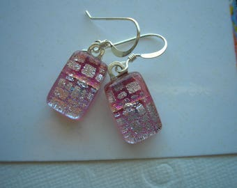Dichroic Earrings Pink and Silver Geometric .925 Sterling Silver French Hook Earwires Fused Glass Women's Jewelry Pink Dangles Dichromatic