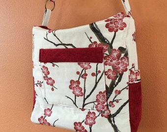 Breezy #05:  Cherry Blossom Knitting Bag, Knitting Bag,  Zippered Knitting Bags, Zippered Project Tote, Knitting Project Tote, Project Bags