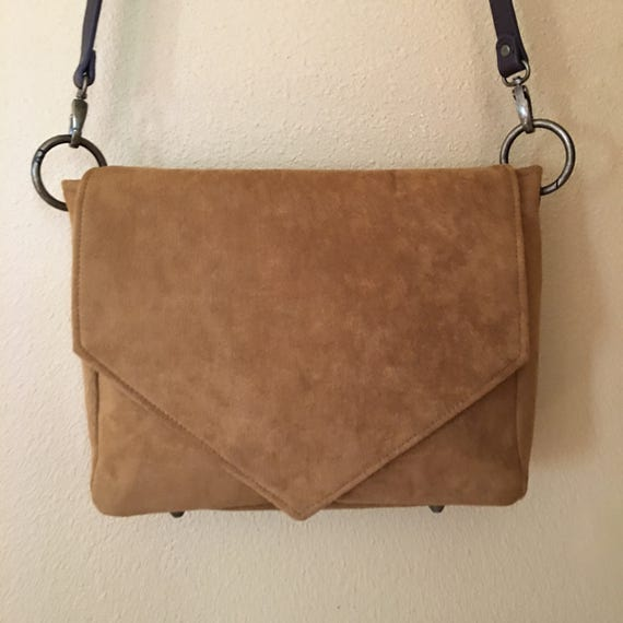Becca #1728L, Cross Body Suede Purse, Up Scale Purse, Suede Leather Purse, Leather Purse, Cross Body Bag, Shoulder Bag, Tan Leather Purse