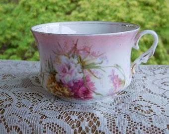 Vintage Mustache Cup Floral Design