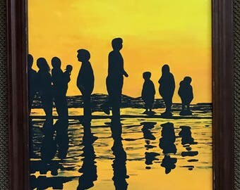 Vivid Vintage 70s Silhouette Shadow Painting Reto Art Wall Hanging Mid Century Modern Seventies Modernist Signed