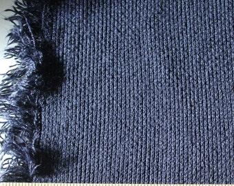 Navy Blue Fringe Edge Cable Sweater Knit Fabric, 1 Yard